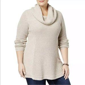 Womens cowl neck tunic sweater